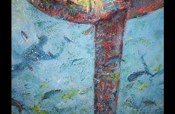 onder water, acryl + zand op doek, 40-40 cm, 125 Euroj