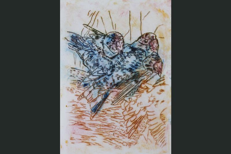 """techniek: droge naald, """"jonge vogels in het nest"""" afm: 30/40 . - 40 euro"""