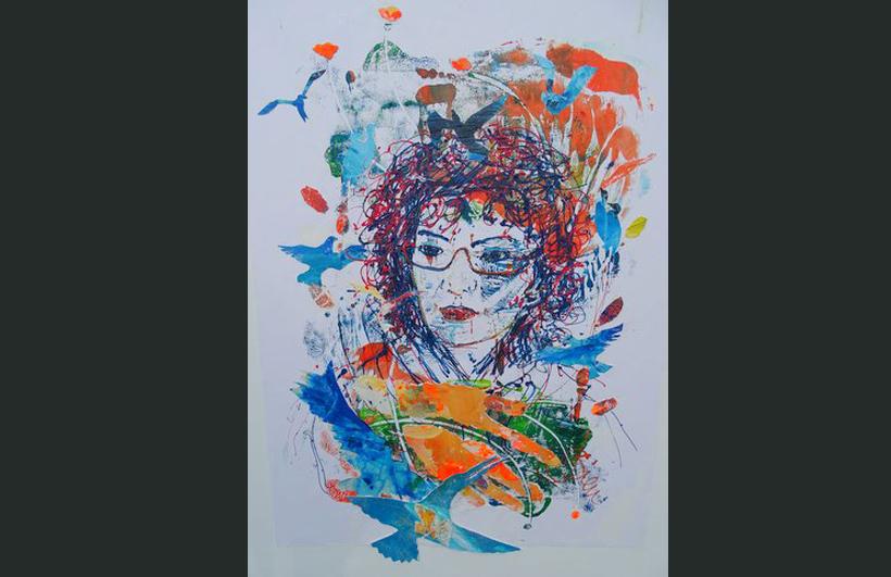 Zelfportret, 50- 70 cm, drukprinten op doek  in een gemengde techniek