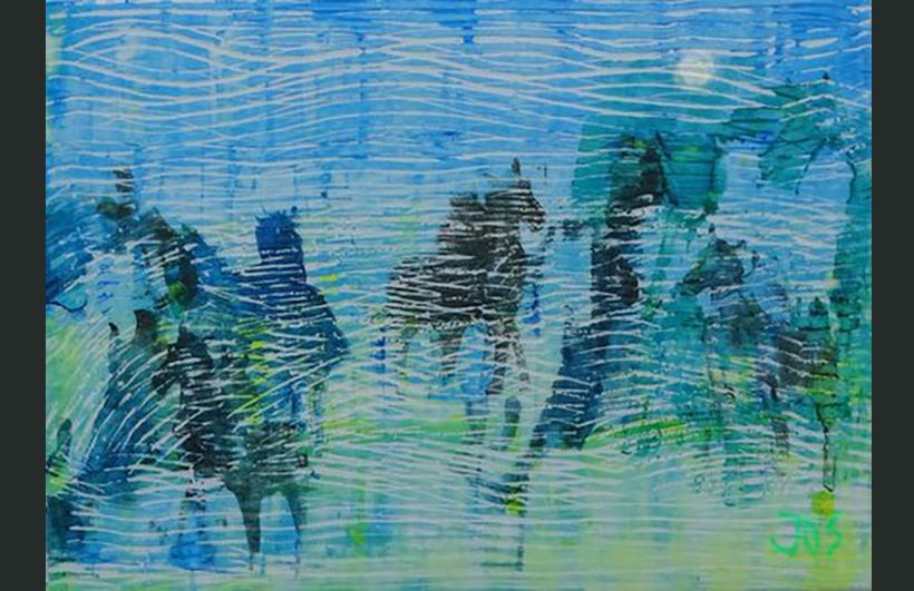 Paarden in de mist, 50 - 70 cm, een kartondruk in gemengde techniek,  op doek
